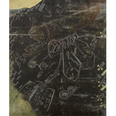 Zane Hanele Putniņa. Gudrās mušas fosilija, kura ir nobliezta ar žurnālu, rakstu zīmju studēšanas mirklī / Fossil of a smart fly that was smashed with a magazine while studying written characters. 2019.